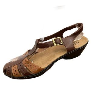 Clarks Bendables Brown Leather Sandals Size 9M